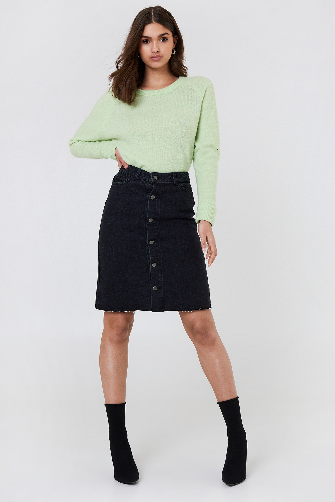 Button Up Long Denim Skirt NA-KD.COM