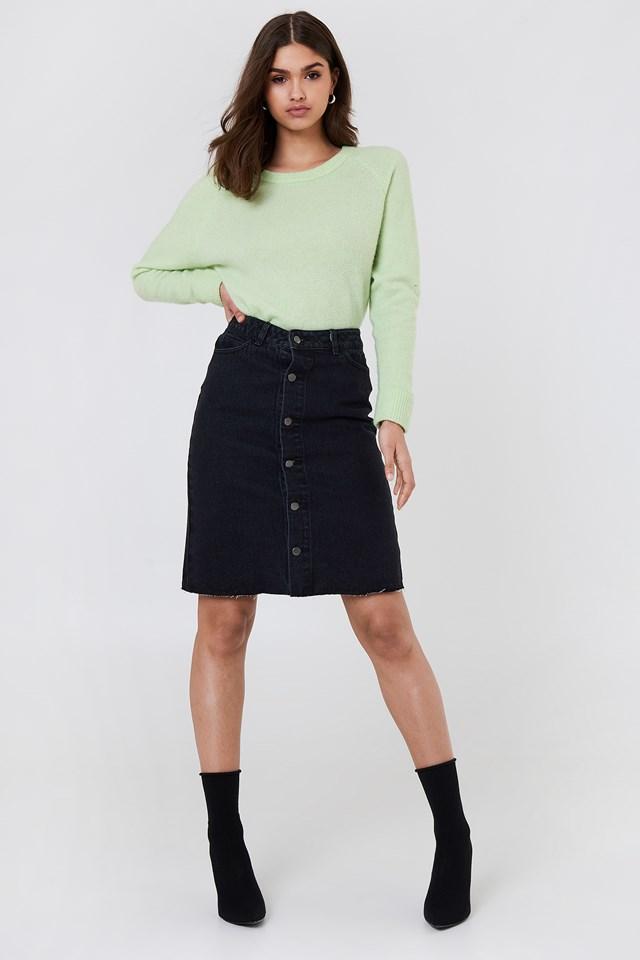 Button Up Long Denim Skirt Black