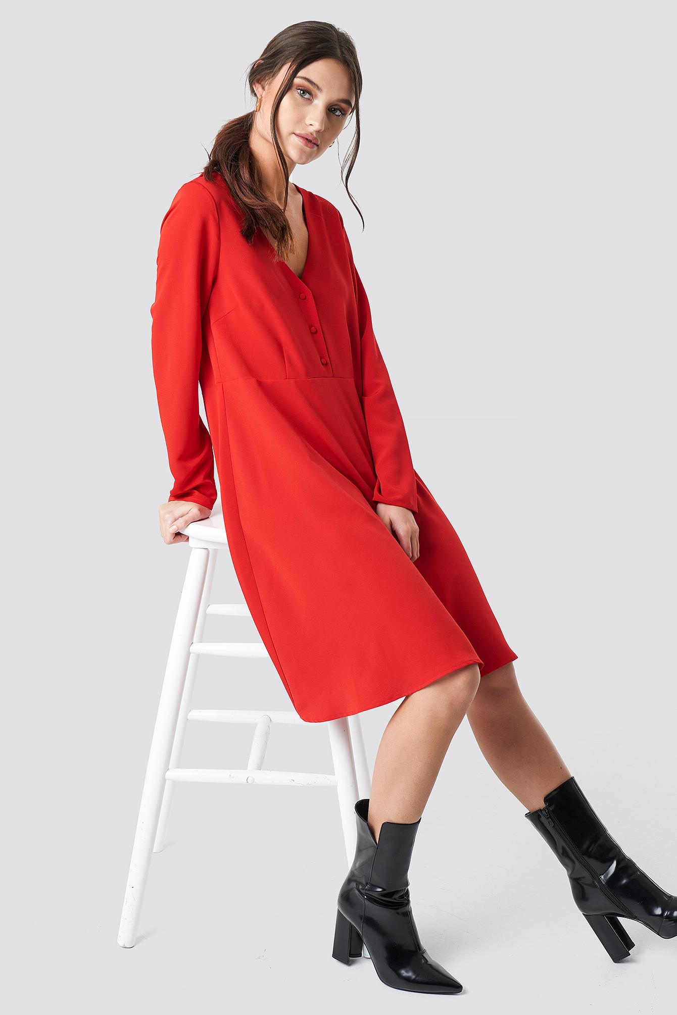 Button Up Ls Dress NA-KD.COM