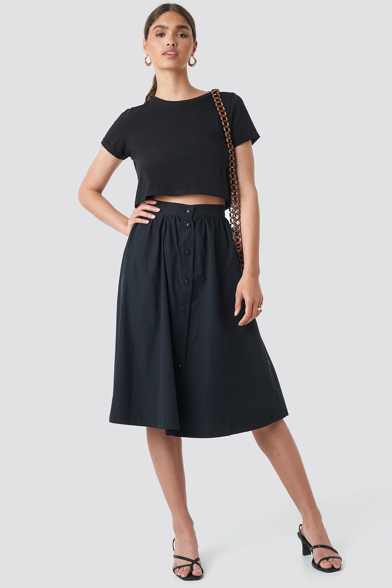 Button Up Midi Skirt NA-KD.COM