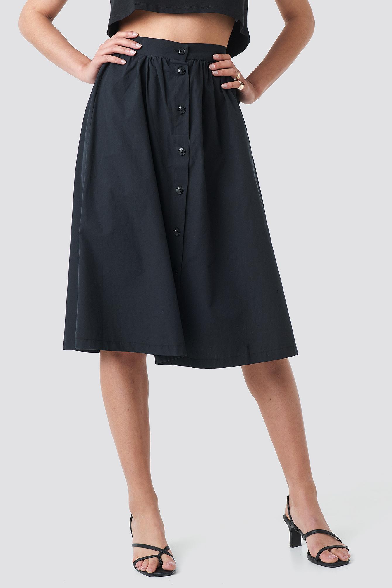Button Up Midi Skirt NA-KD.COM