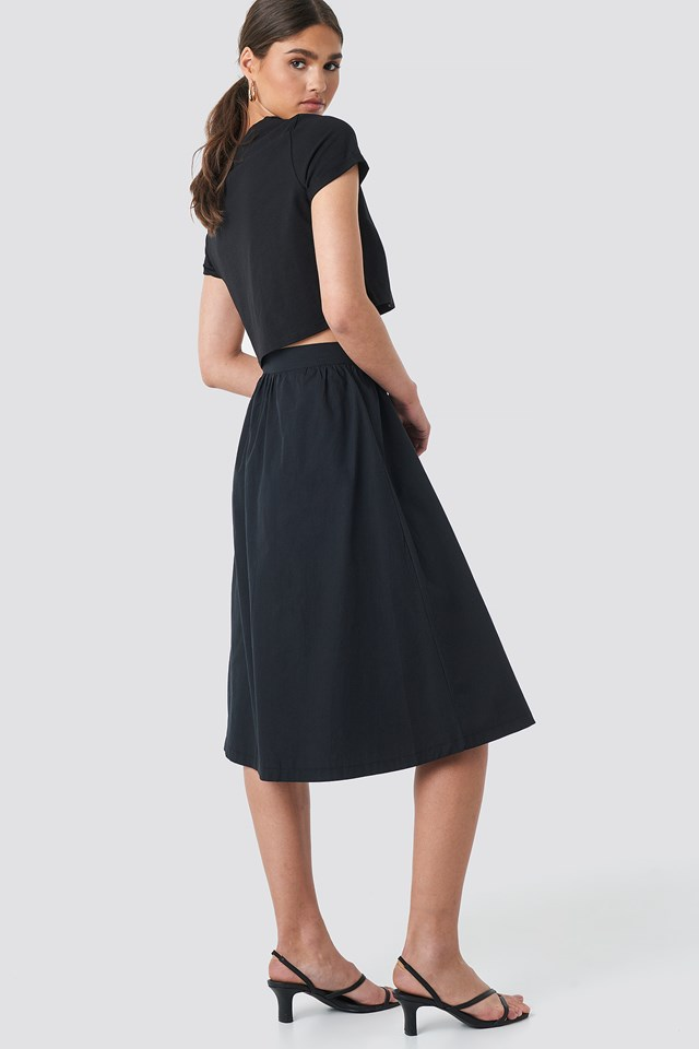 Button Up Midi Skirt Black