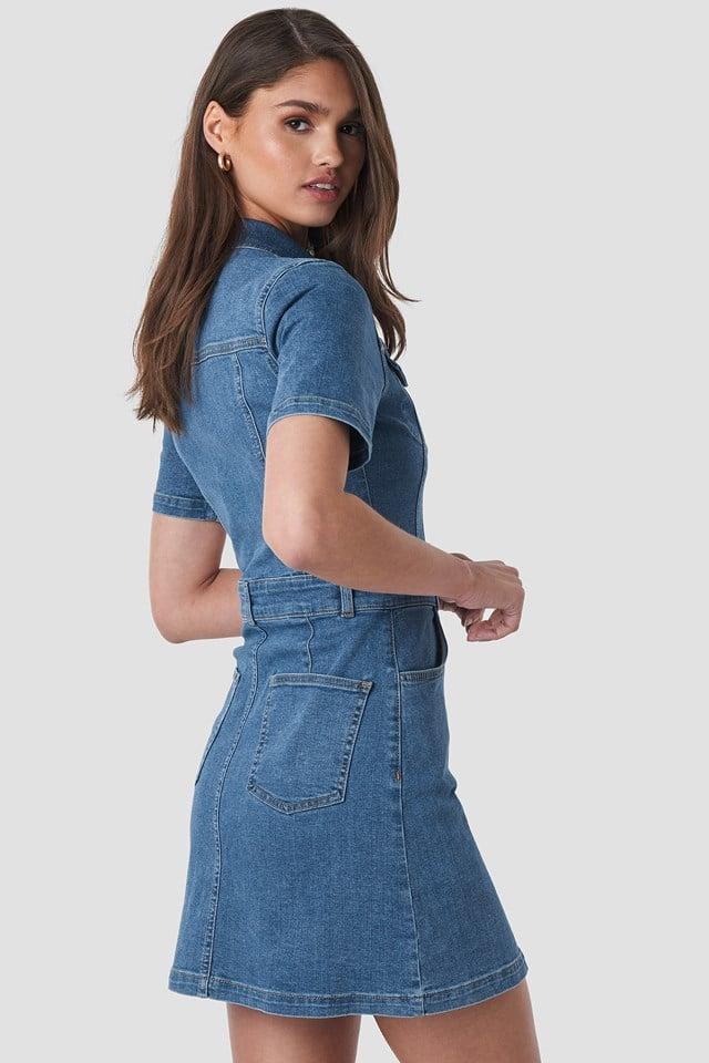 Button Up Mini Denim Dress Mid Blue Wash