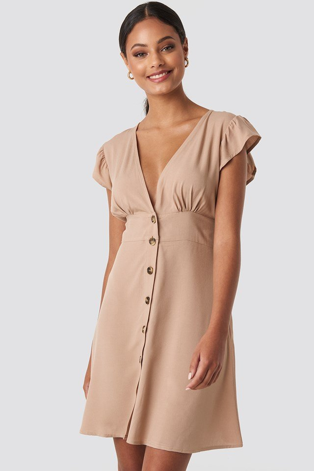 Button Up Mini Dress Beige