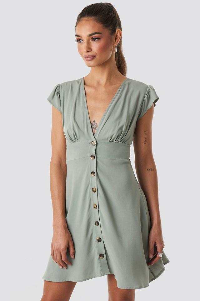 Button Up Mini Dress Khaki