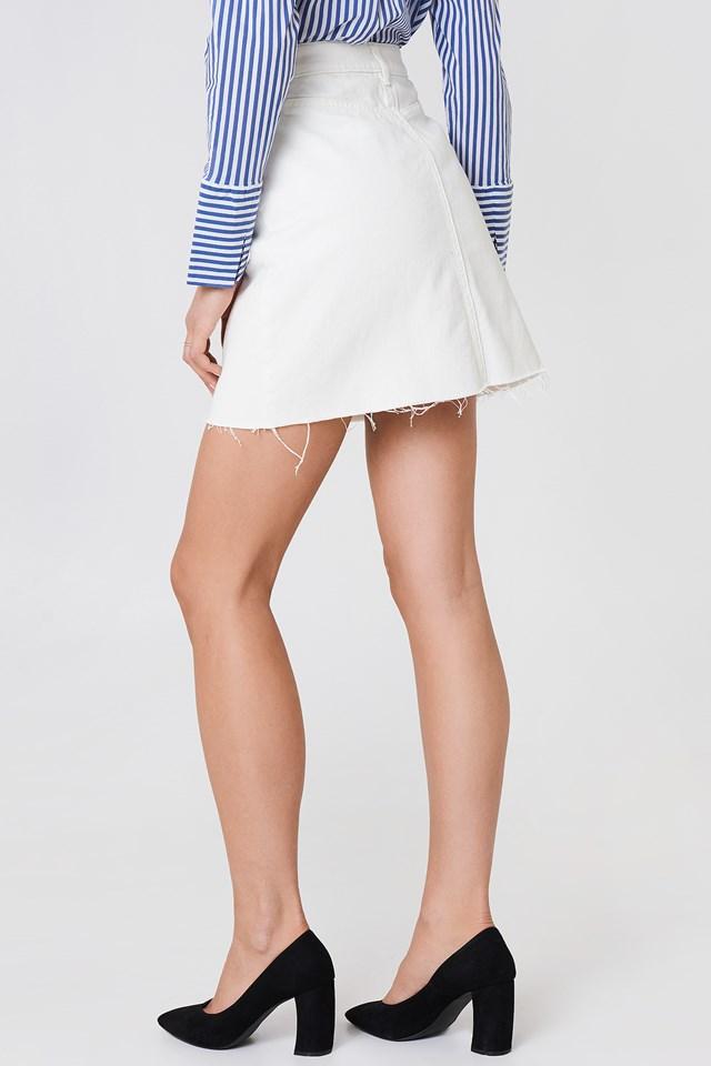 Button Up Raw Hem Denim Skirt NA-KD.COM