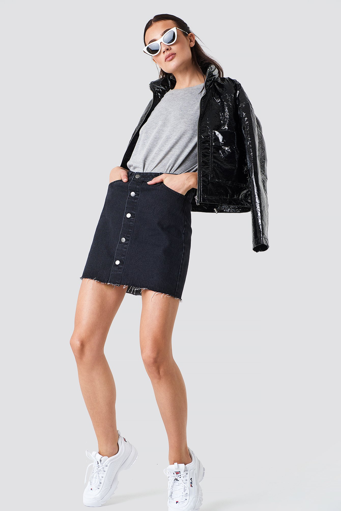 Button Up Raw Hem Denim Skirt NA-KD.COM