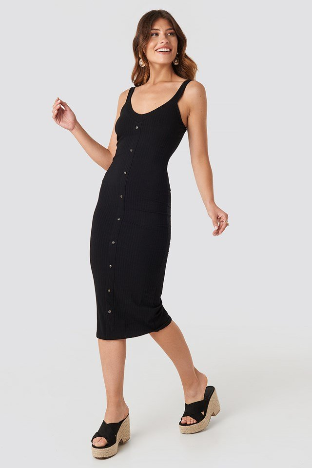 Button Up Ribbed Midi Dress Black
