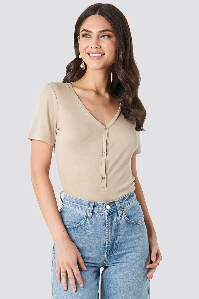 Button Up Ribbed Top Beige