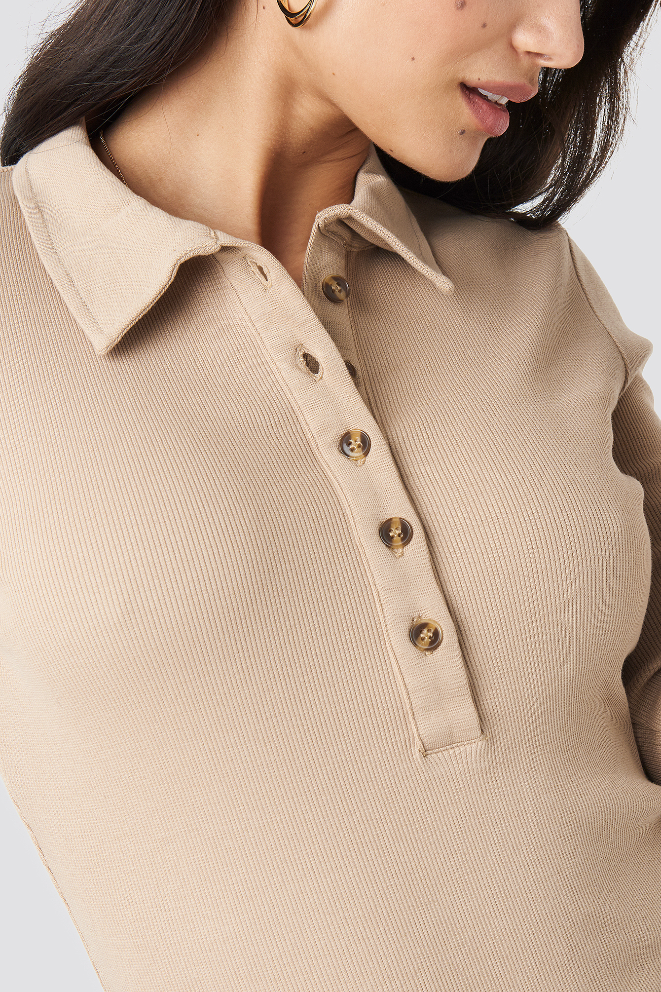Button Up Ribbed Top NA-KD.COM