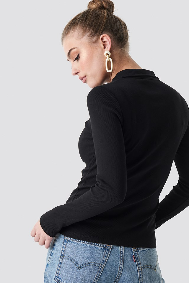 Button Up Ribbed Top Black