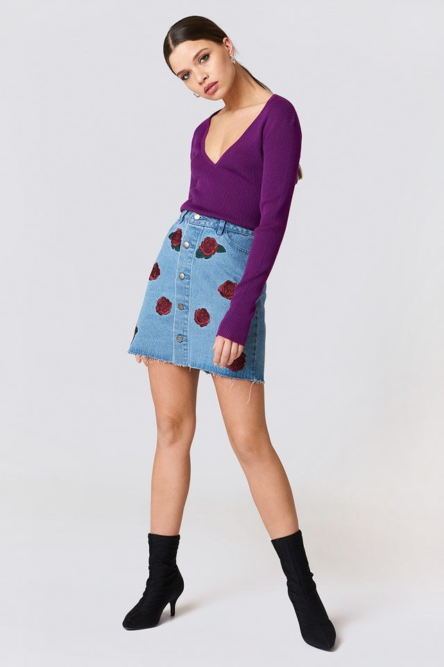 Button Up Rose Embroidery Skirt Mid Blue