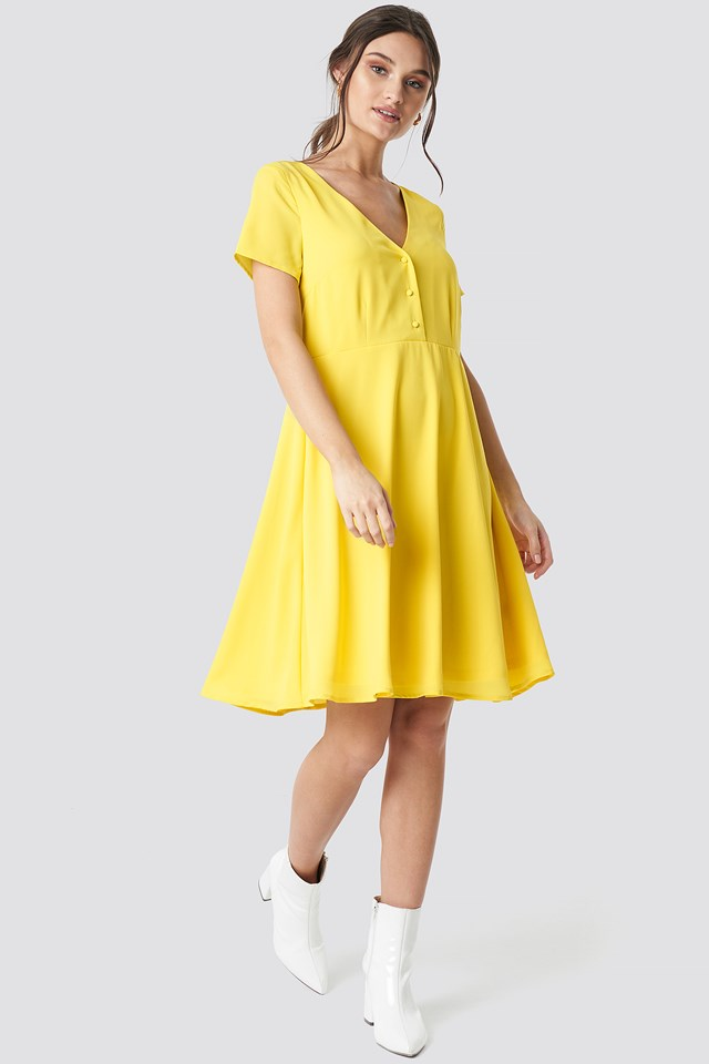 Button Up Short Sleeve Dress Blazing Yellow