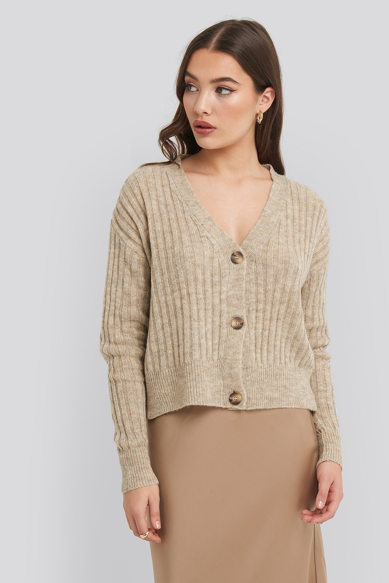 NA-KD Button Up Ribbed Cropped Cardigan - Beige