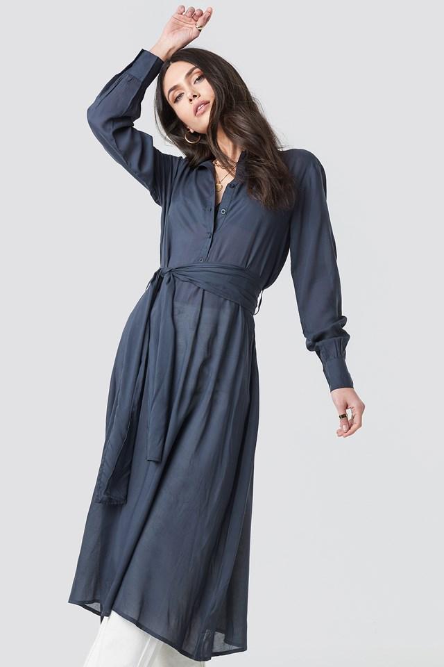 Button Up Tie Waist Dress Blue