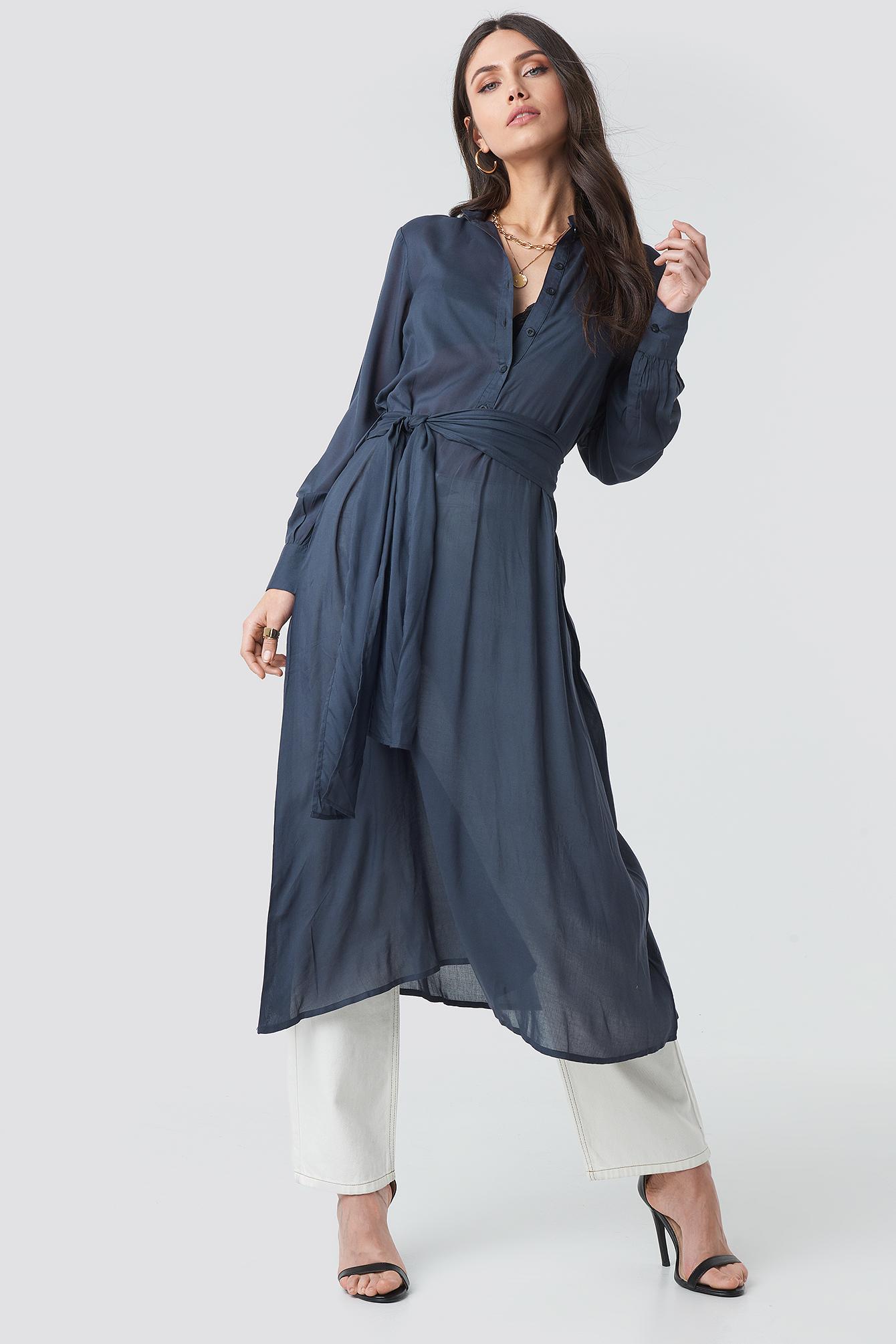 Button Up Tie Waist Dress NA-KD.COM