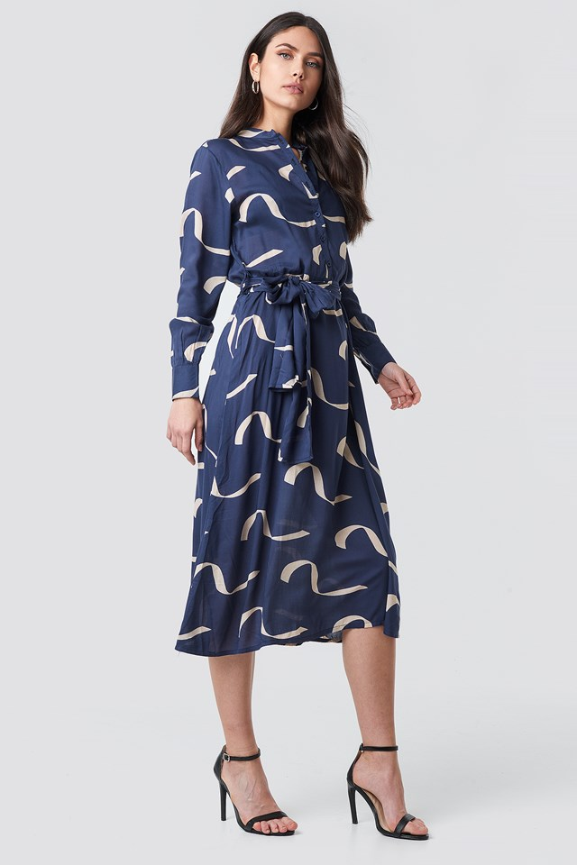 Button Up Tie Waist Dress Wave Blue