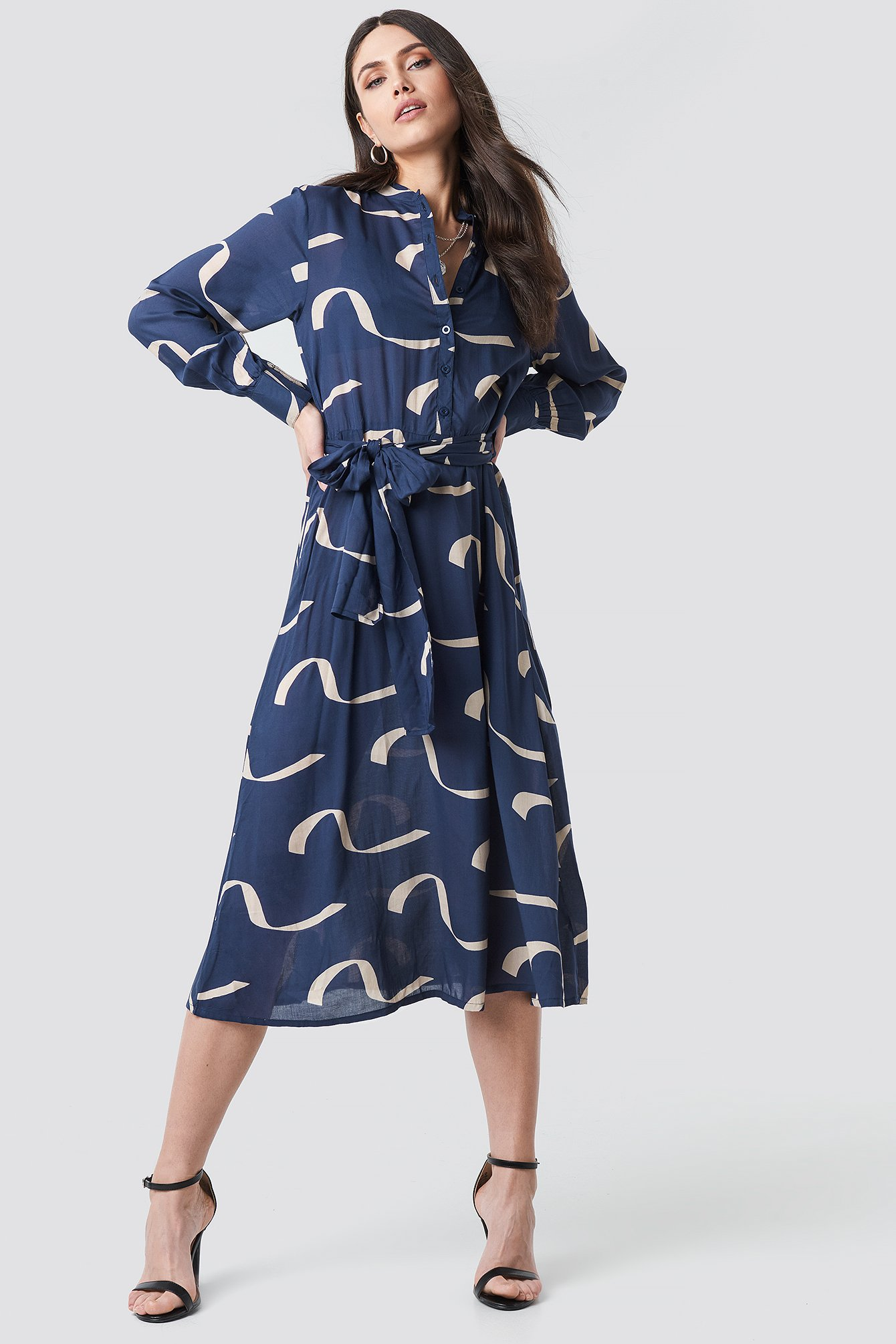 Wave Blue Button Up Tie Waist Dress