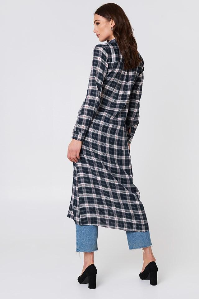 Buttoned Asymmetric Shirt Dress Checkered