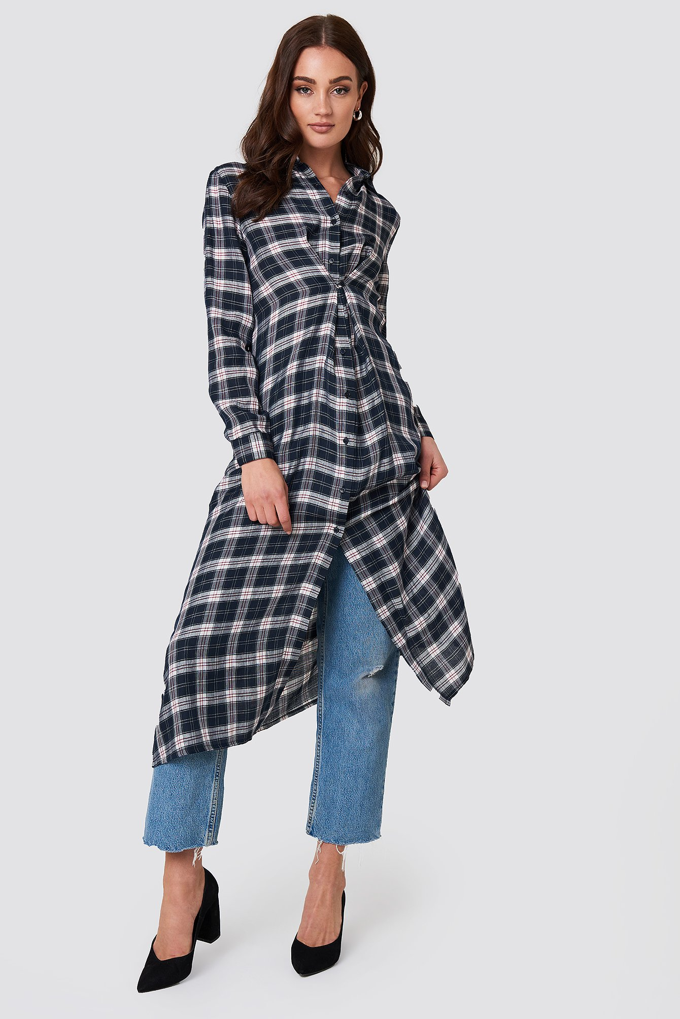 Buttoned Asymmetric Shirt Dress NA-KD.COM