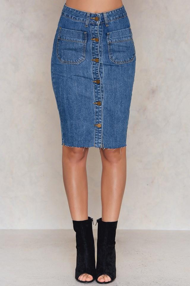 Buttoned Denim Pencil Skirt Mid Blue