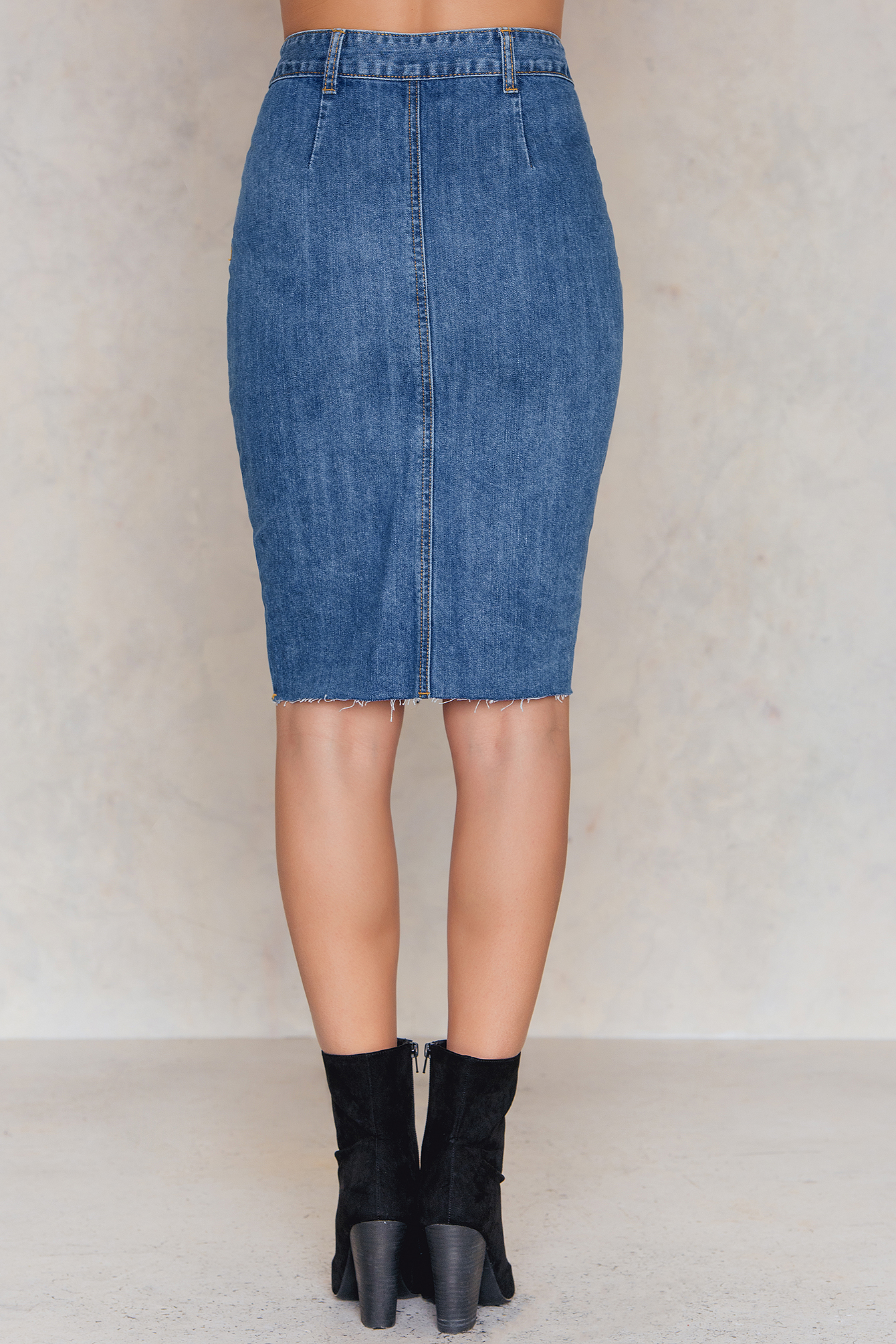 Mid Blue Buttoned Denim Pencil Skirt