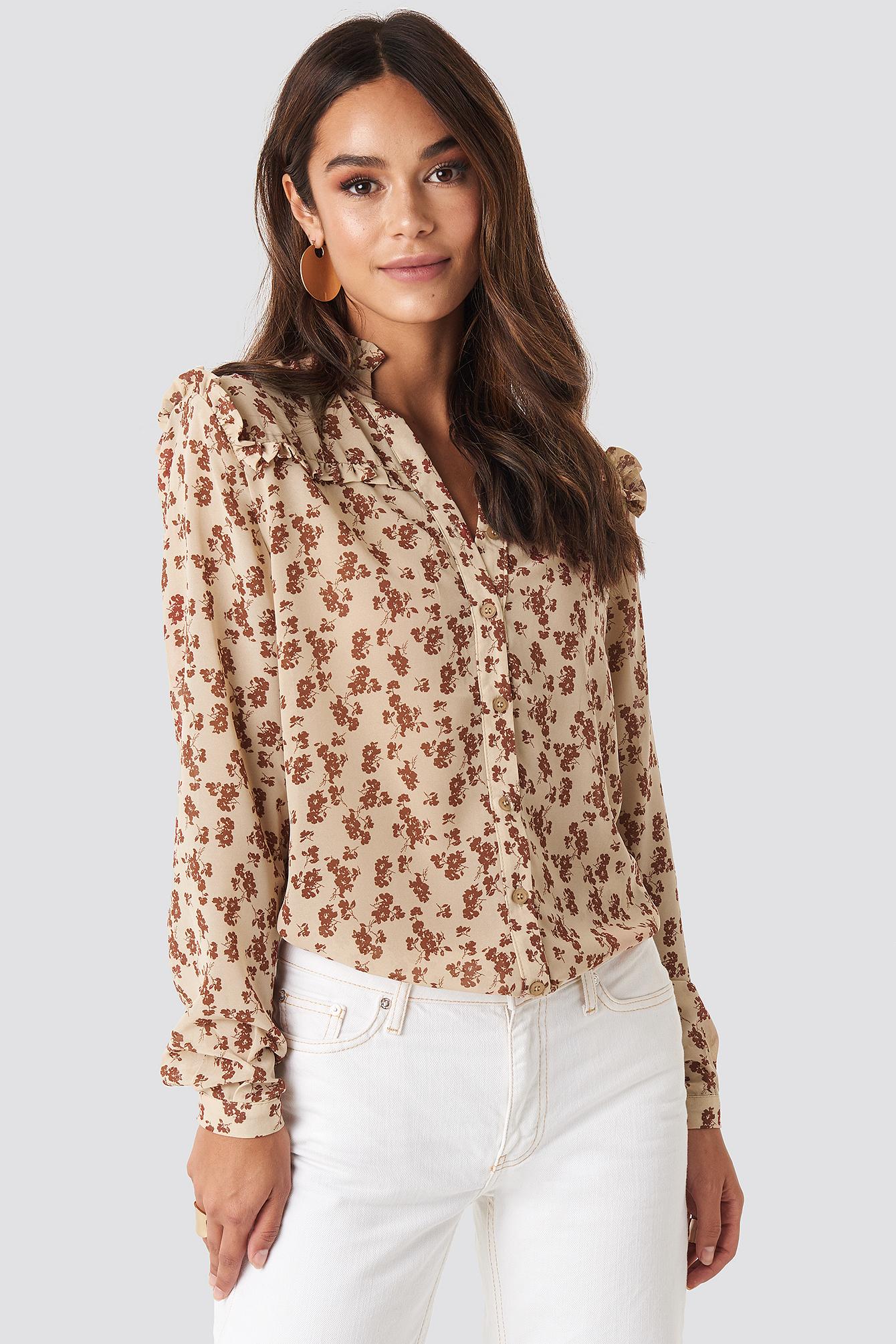 na-kd boho -  Buttoned Flower Print Blouse - Beige