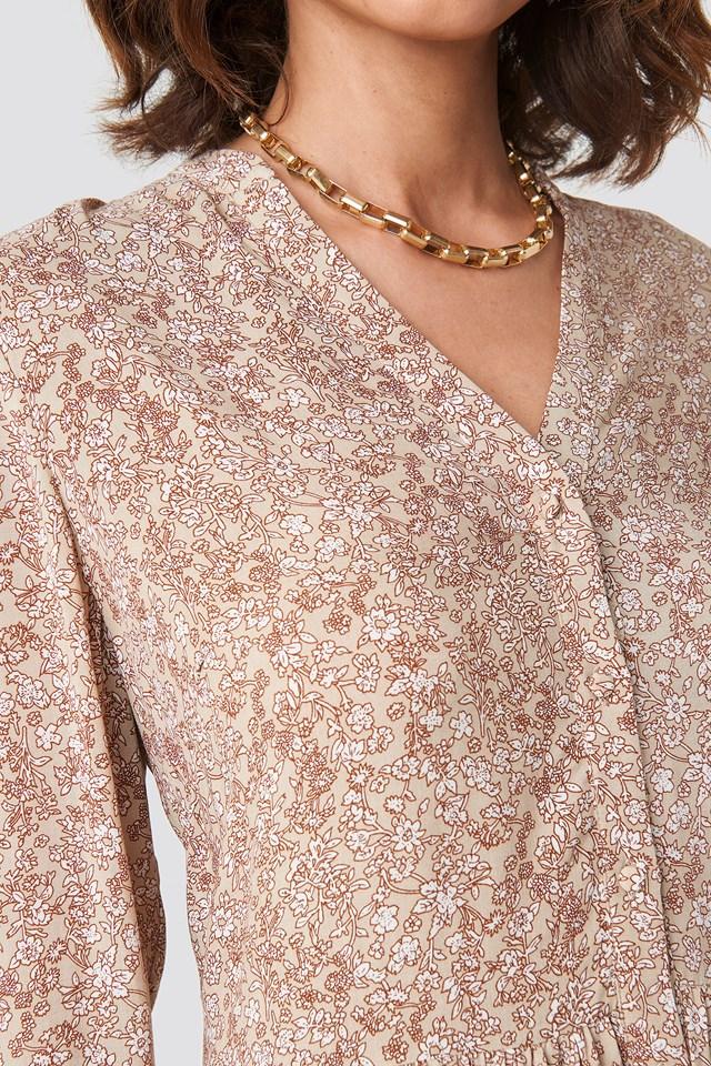 Buttoned Flower Print Dress Beige Flower