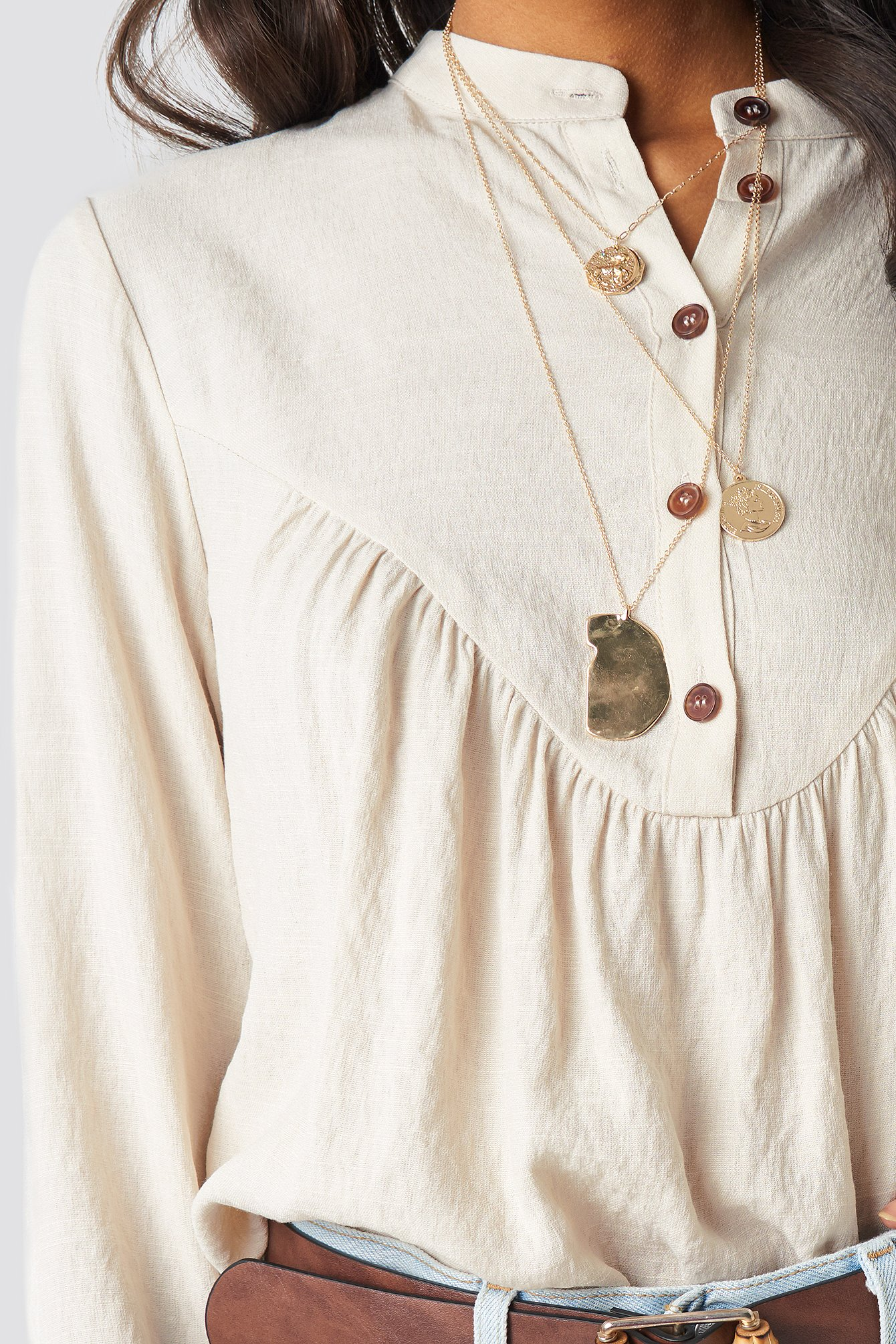 Buttoned Gathered Blouse NA-KD.COM
