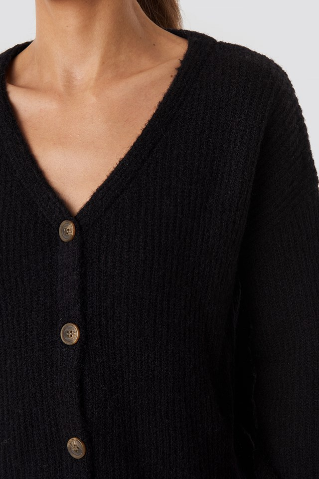 Buttoned Knitted Cardigan Black