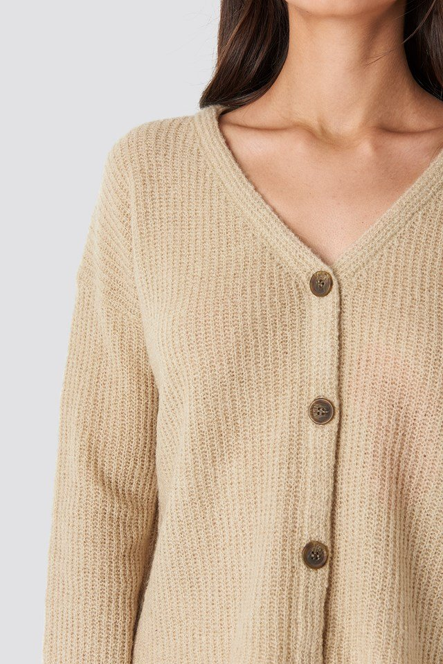 Buttoned Knitted Cardigan Light Beige
