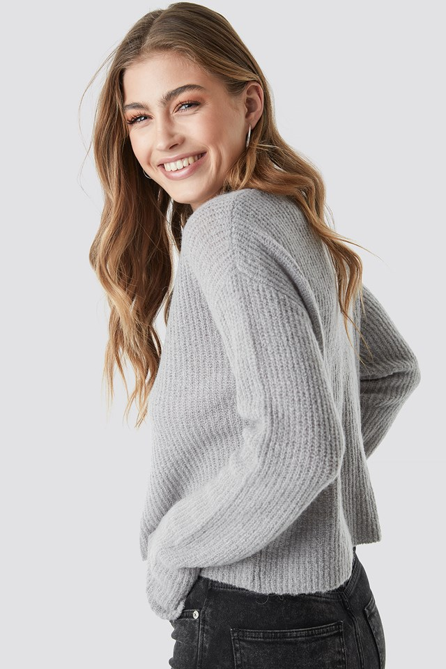 Buttoned Knitted Cardigan Grey