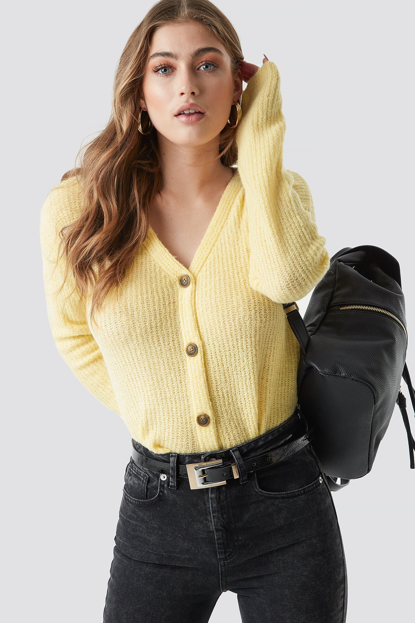 na-kd -  Buttoned Knitted Cardigan - Yellow