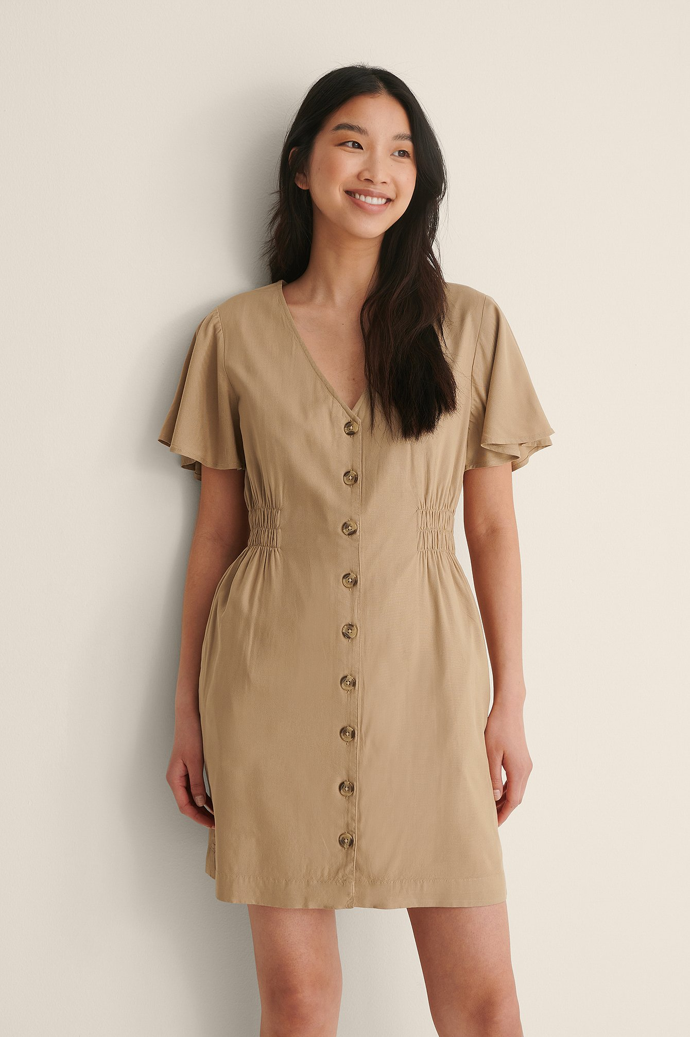 Beige Buttoned Mini Dress