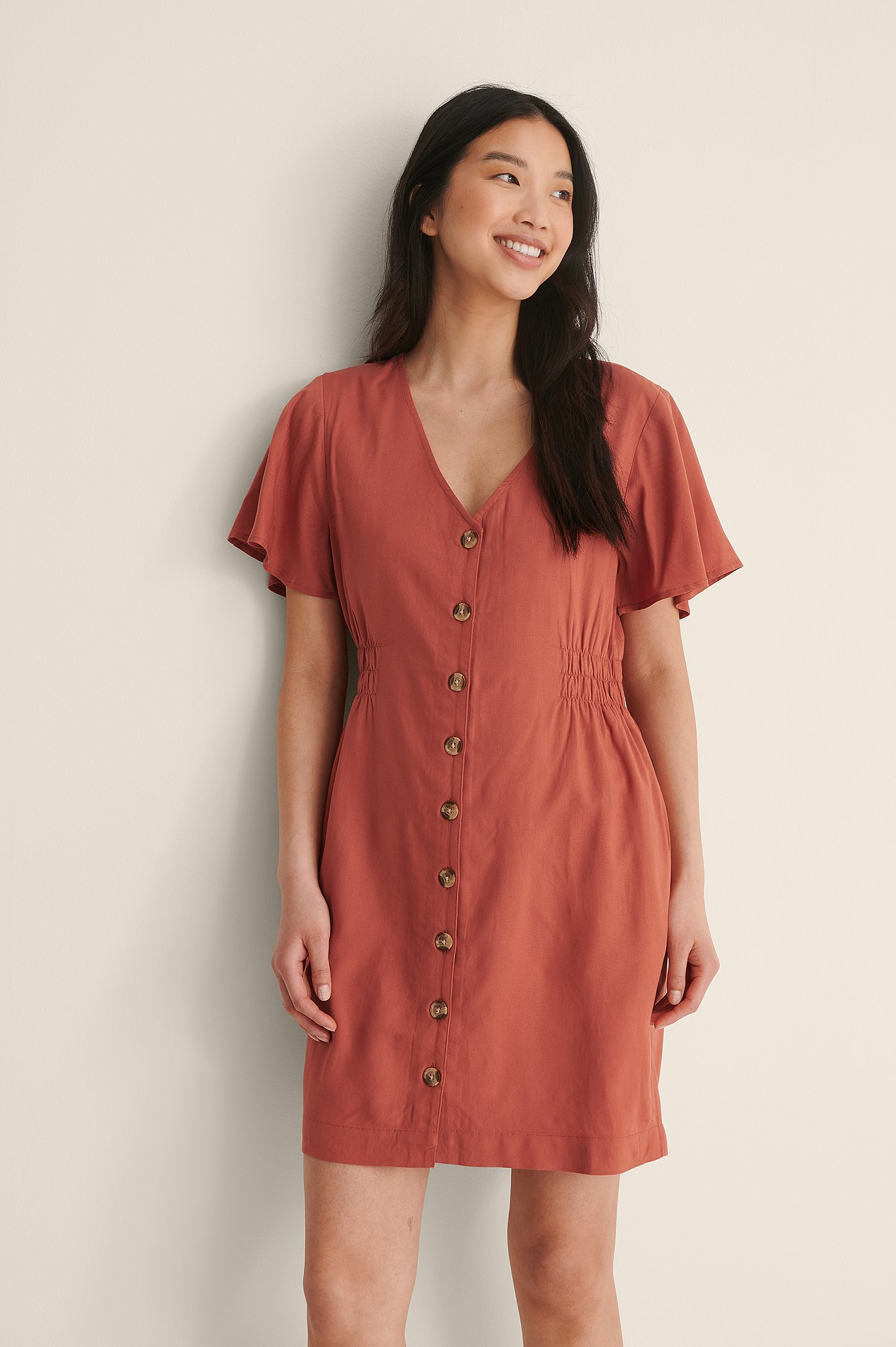 Rust Buttoned Mini Dress