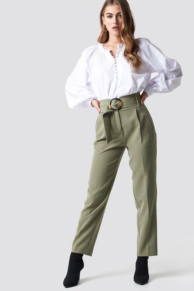 Buttoned Neckline Oversize Blouse White