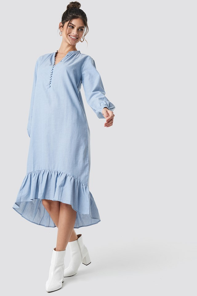 Buttoned Neckline Puff Sleeve Dress Blue Stone