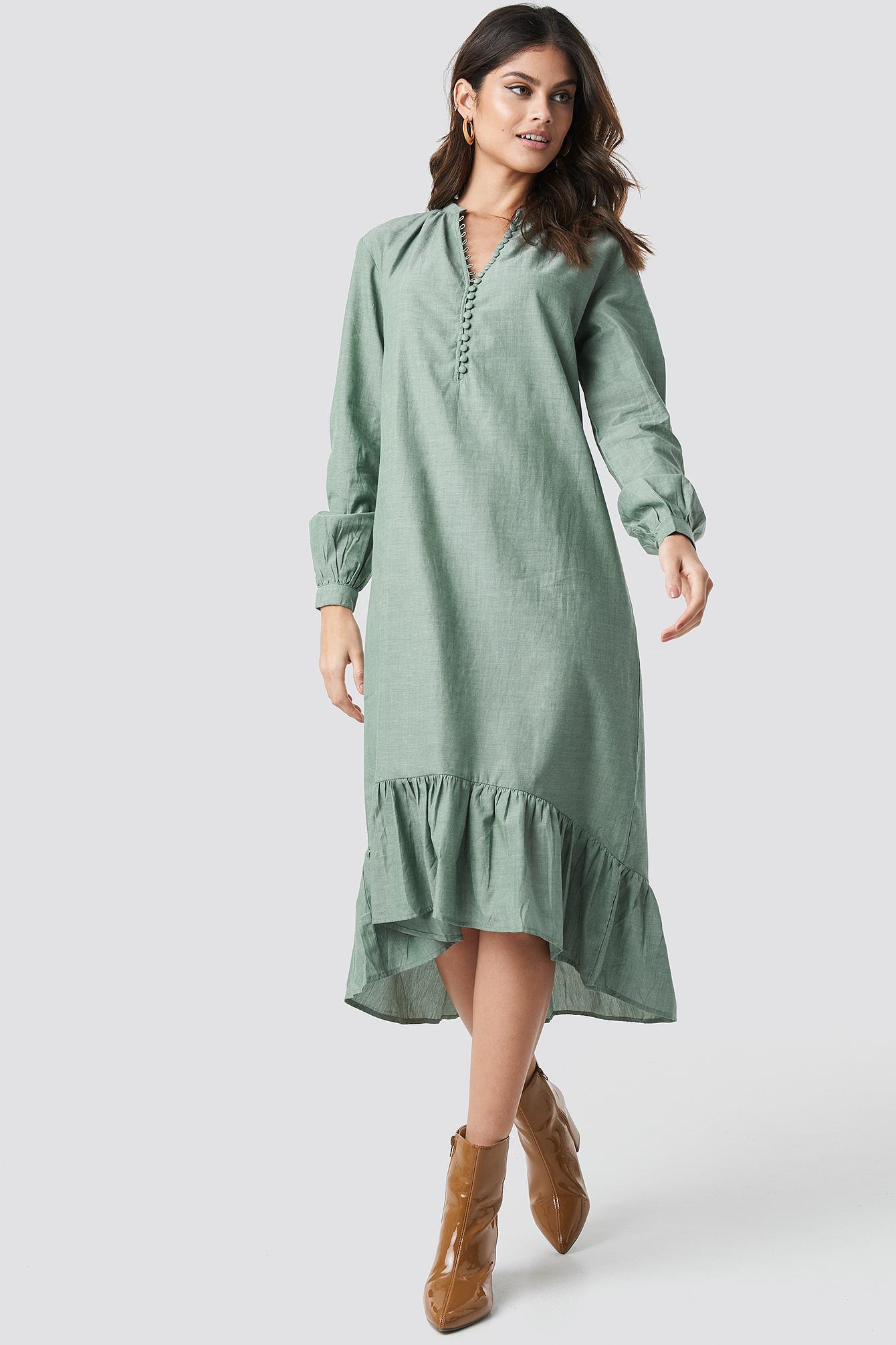 Buttoned Neckline Puff Sleeve Dress NA-KD.COM