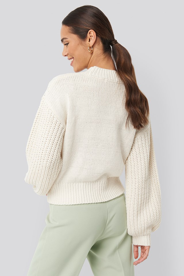 Cable Knitted Balloon Sleeve Sweater Offwhite
