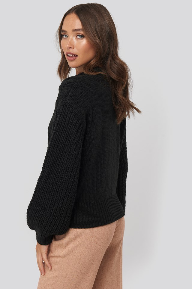 Cable Knitted Balloon Sleeve Sweater Black