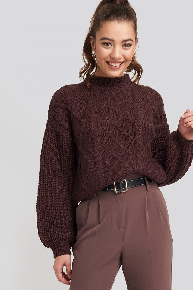 Cable Knitted Balloon Sleeve Sweater Burgundy