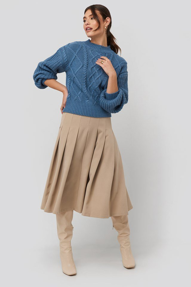 Cable Knitted Balloon Sleeve Sweater Dusty Blue