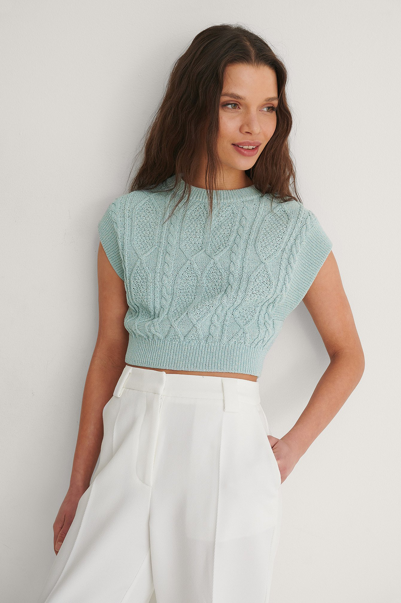 Light Blue Organic Cable Knitted Cropped Vest