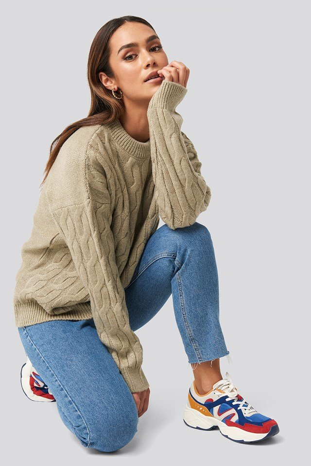 Cable Knitted Oversized Sweater NA-KD