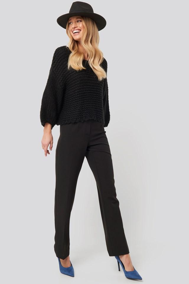 Heavy Knitted Short Sleeve Sweater Black