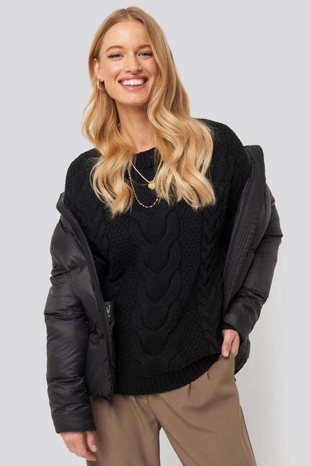 Cable Knitted Ribbed Sleeve Sweater NA-KD Trend