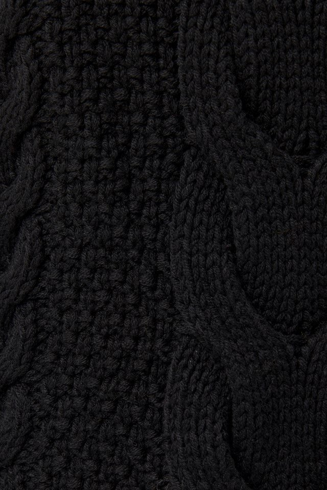 Cable Knitted Ribbed Sleeve Sweater Black