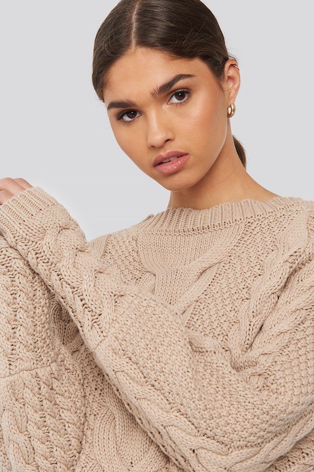 Cable Knitted Ribbed Sleeve Sweater Beige