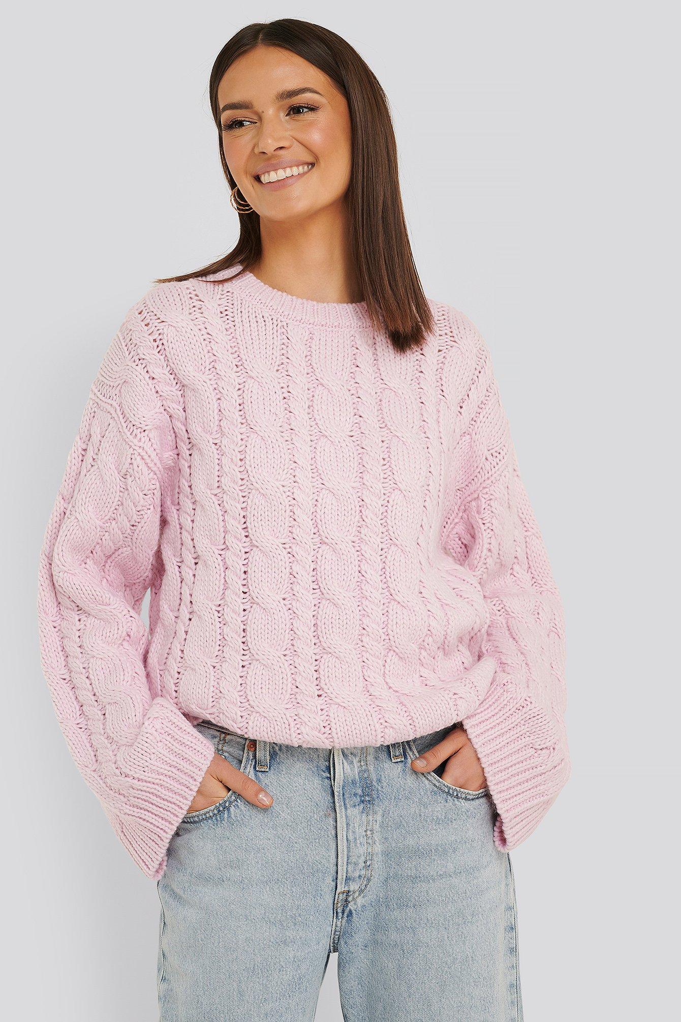 na-kd -  Cable Knitted Round Neck Sweater - Pink