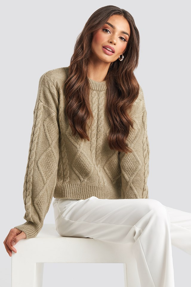 Cable Knitted Roundneck Sweater Josefine Simone x NA-KD